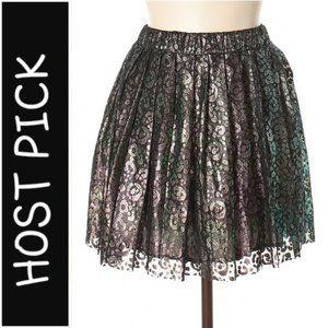 House of Holland Greenish Metallic Lace Skirt